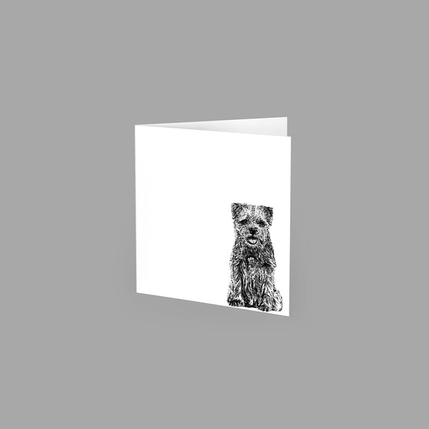 BORDER TERRIER - GREETING CARD 10cm x 10cm (BLANK INSIDE) - doggily