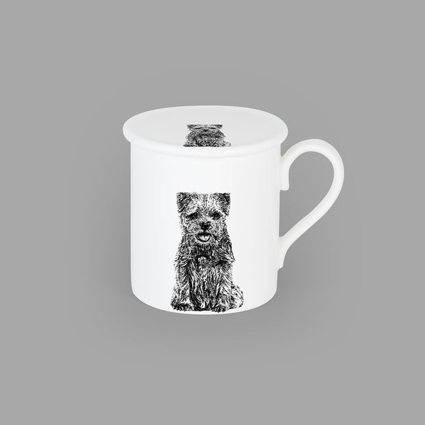 BORDER TERRIER - CHINA COASTER / STANDARD MUG LID (8.5cm DIAMETER) - doggily