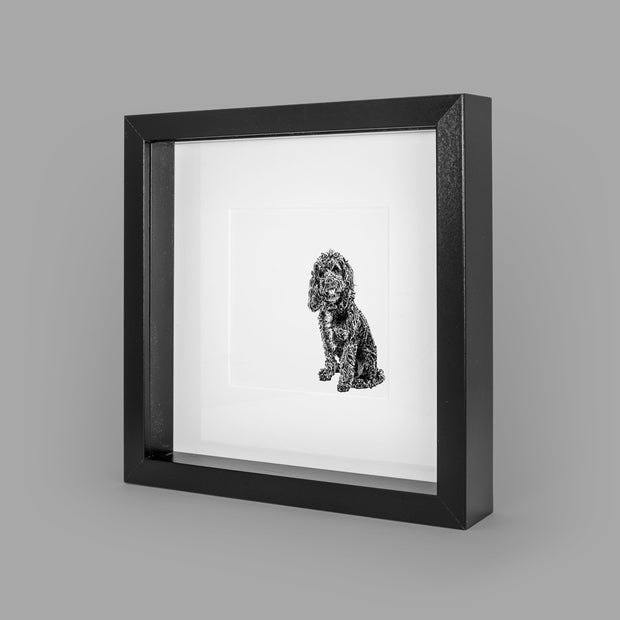COCKAPOO BOX-FRAMED PRINT - BLACK - 23x23CM - doggily