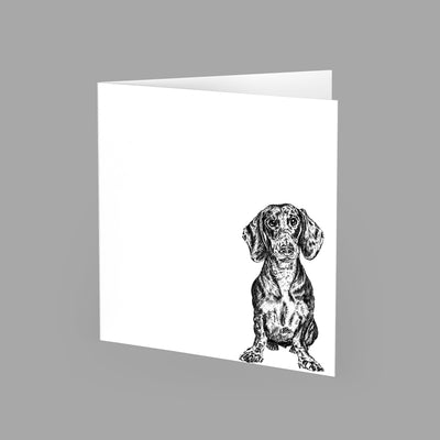 DACHSHUND - GREETING CARD 15cm x 15cm (BLANK INSIDE) - doggily