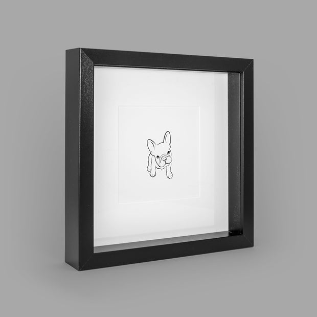 FABULOUS FRENCHIE BOX-FRAMED PRINT - BLACK - 23x23CM - doggily
