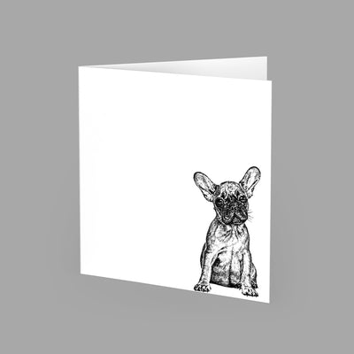 FRENCH BULLDOG - GREETING CARD 15cm x 15cm (BLANK INSIDE) - doggily