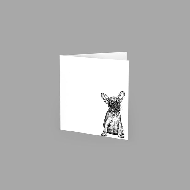 FRENCH BULLDOG - GREETING CARD 10cm x 10cm (BLANK INSIDE) - doggily