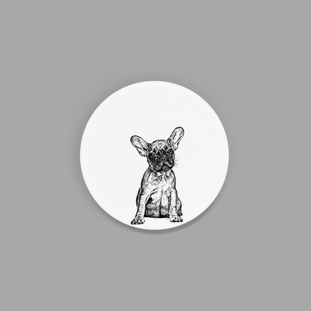 FRENCH BULLDOG - CHINA COASTER / STANDARD MUG LID (8.5cm DIAMETER) - doggily