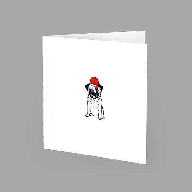CHRISTMAS PAMPERED PUG - GREETING CARD 15cm x 15cm (BLANK INSIDE) - doggily