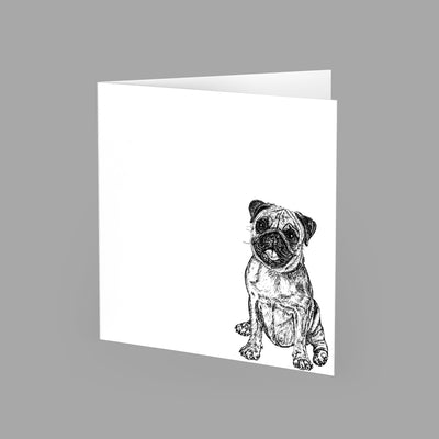 PUG - GREETING CARD 15cm x 15cm (BLANK INSIDE) - doggily
