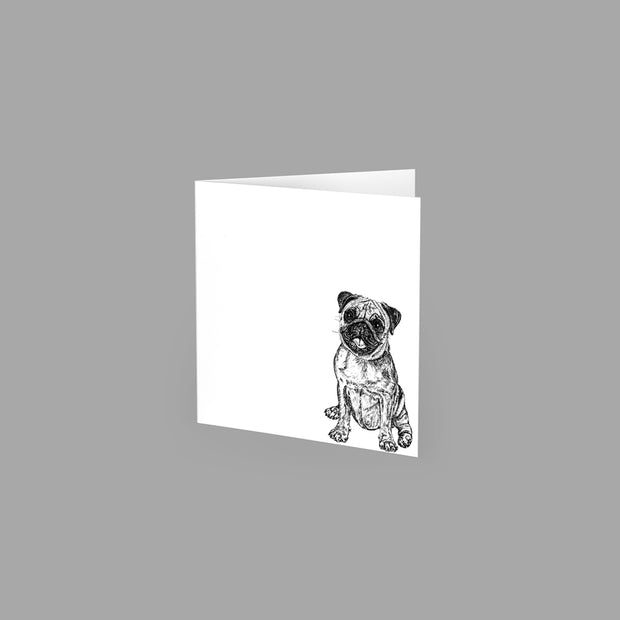 PUG - GREETING CARD 10cm x 10cm (BLANK INSIDE) - doggily