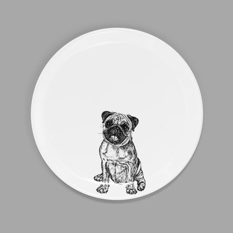 PUG - SIDE PLATE  (21cm DIAMETER) - doggily