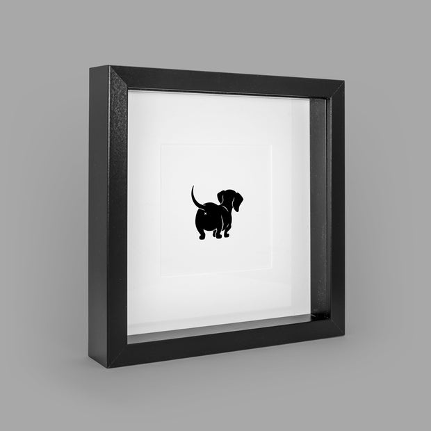 SASSY SAUSAGE (BLACK) BOX-FRAMED PRINT - BLACK - 23x23CM - doggily