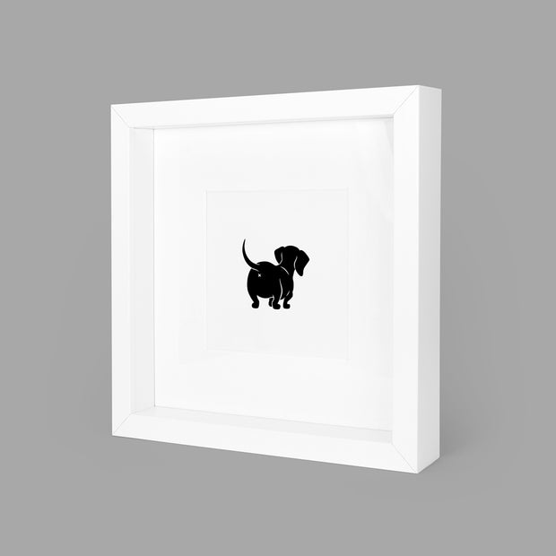 SASSY SAUSAGE (BLACK) BOX-FRAMED PRINT - WHITE - 23x23CM - doggily