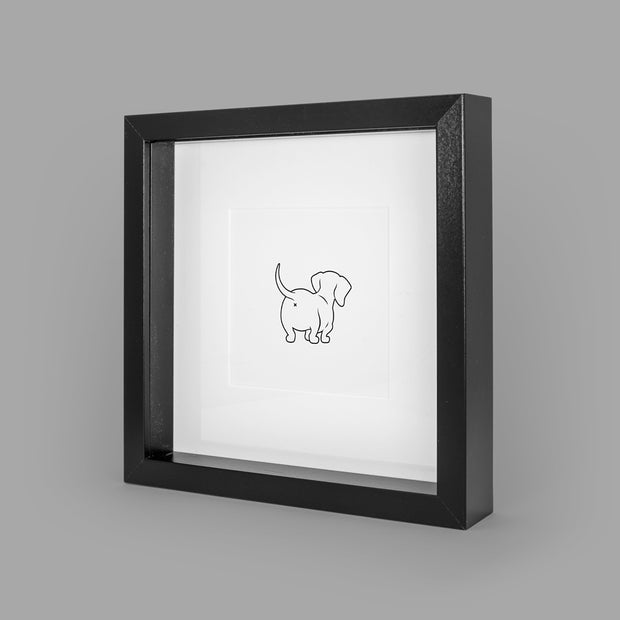SASSY SAUSAGE (WHITE) BOX-FRAMED PRINT - BLACK - 23x23CM - doggily