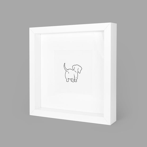 SASSY SAUSAGE (WHITE) BOX-FRAMED PRINT - WHITE - 23x23CM - doggily