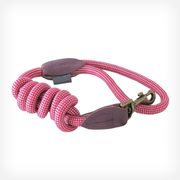 LUXURY WOVEN CORD DOG LEAD - PINK
