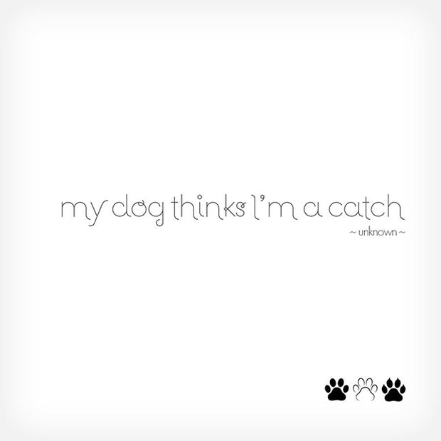 """MY DOG THINKS I'M A CATCH..."" BOX-FRAMED PRINT - doggily"