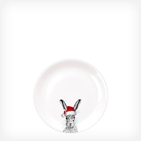 CHRISTMAS SASSY HARE - SIDE PLATE  (21cm DIAMETER) - doggily