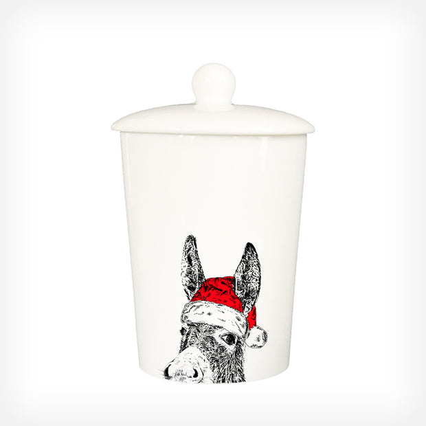 CHRISTMAS DONKEY - TREAT / STORAGE JAR (900ml/18cm HIGH) - doggily