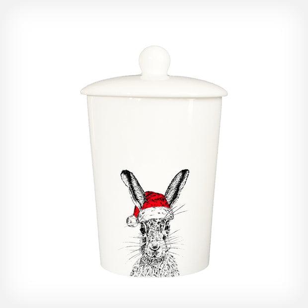 CHRISTMAS SASSY HARE - TREAT / STORAGE JAR (900ml/18cm HIGH) - doggily