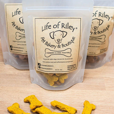 TURMERIC & CHIA TOASTIES from LIFE OF RILEY - 100g - doggily