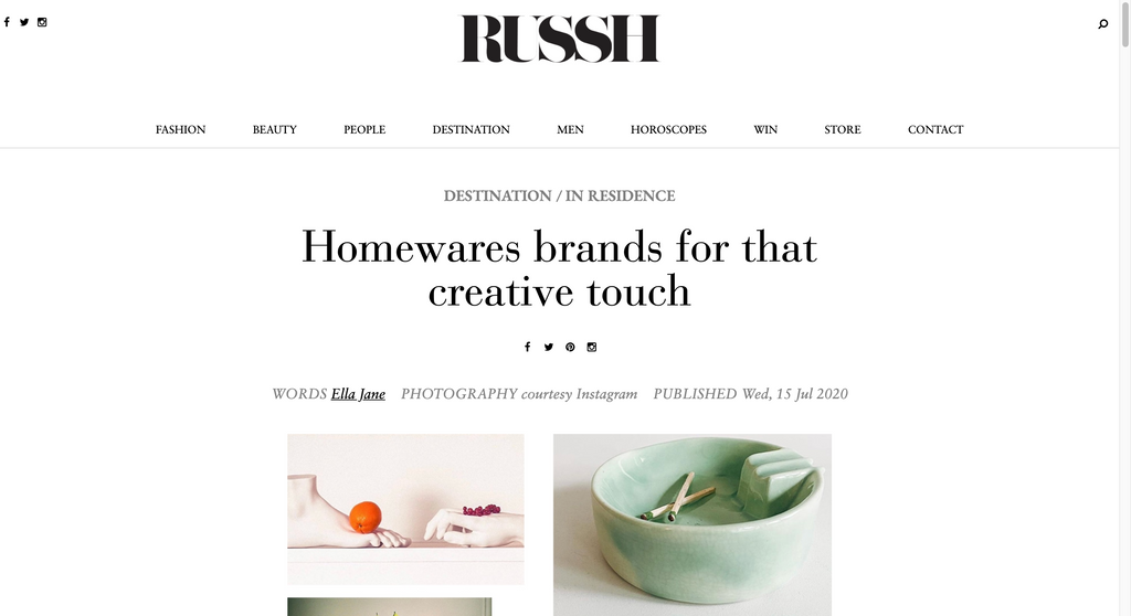 RUSSH - 'Homewares brands for that creative touch'