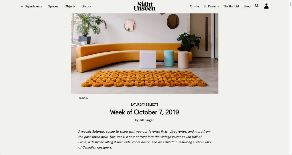 Sight Unseen - Saturday selects - October 7, 2019