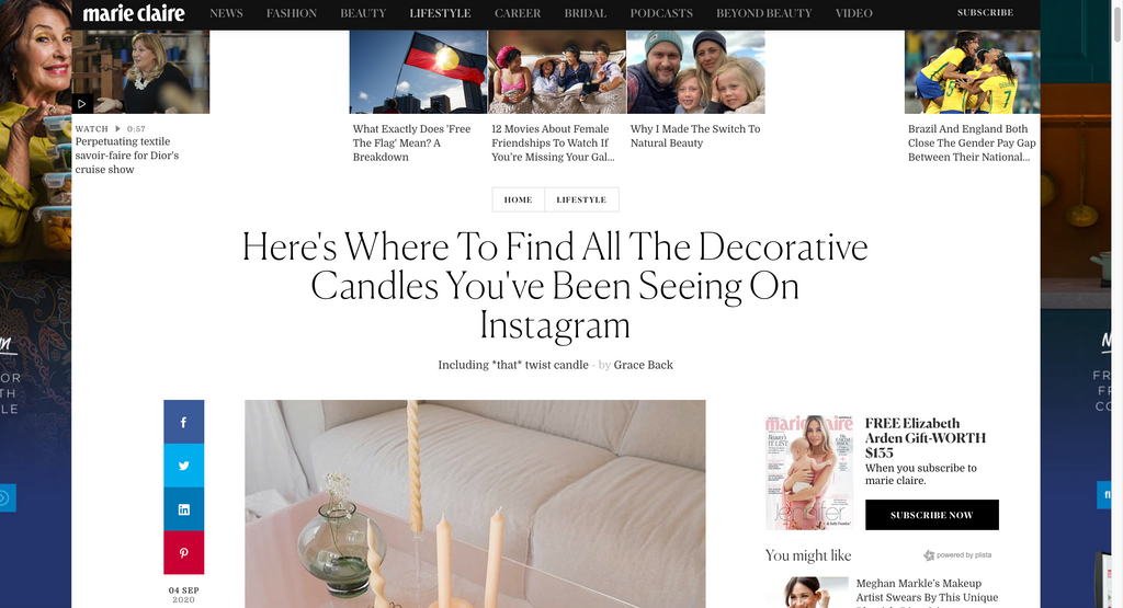 Marie Claire Australia - 'Here's Where To Find All The Decorative Candles You've Been Seeing On Instagram'