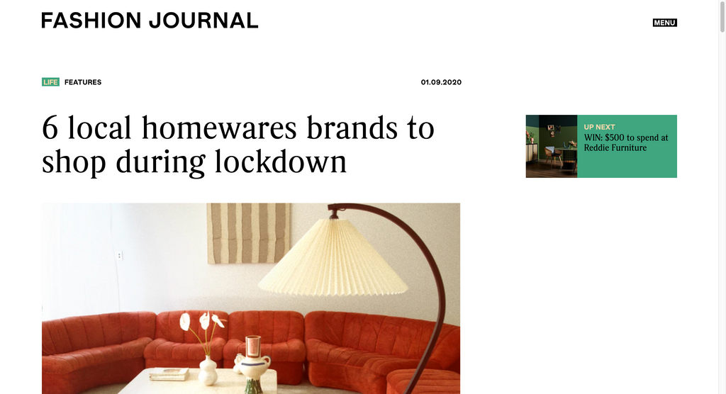 Fashion Journal - '6 local homewares brands to shop during lockdown'