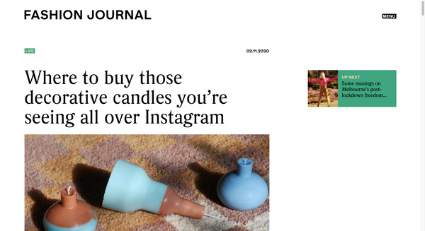 Fashion Journal - 'Where to buy those decorative candles you're seeing all over Instagram'