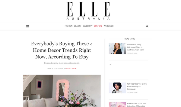 Elle Australia - 'Everybody's Buying These 4 Home Decor Trends Right Now, According To Etsy'