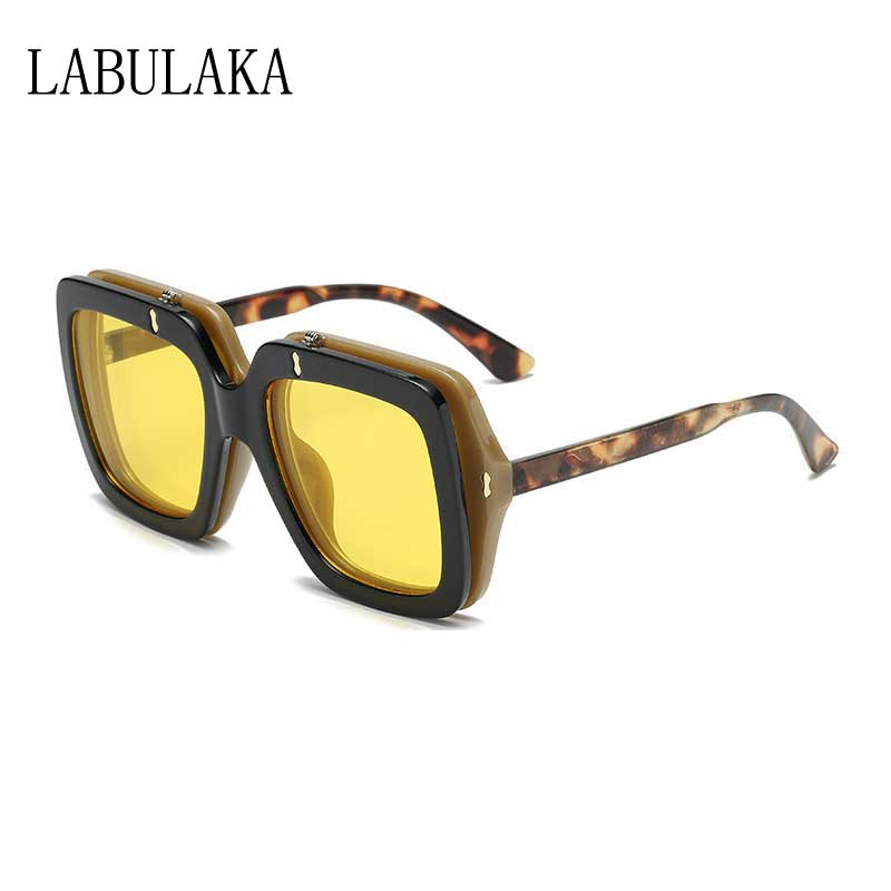 Flip Lens Sunglasses Women Brand Steampunk Double Glasses Yellow Lens Retro Sun glasses High Quality Men Square Vintage Shades