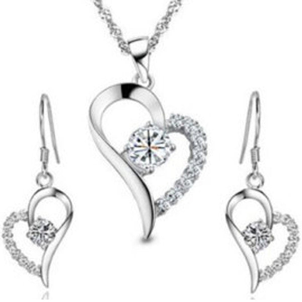 Crystal Heart Pendant Set