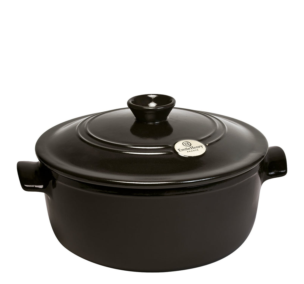 Emile Henry Round Stewpot Charcoal 28.5cm dia. 5.3l