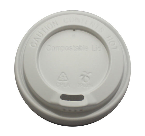 8oz Compostable take away cup lids white (1000pk)