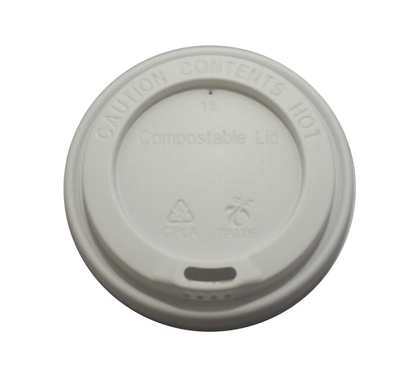 12oz to 16oz Compostable take away cup lids white (1000pk)
