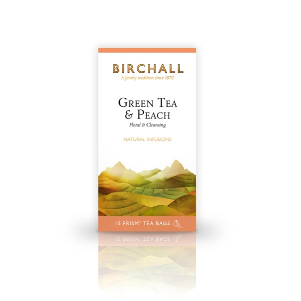 Birchall Green Tea and Peach - 15 Prism Tea Bags