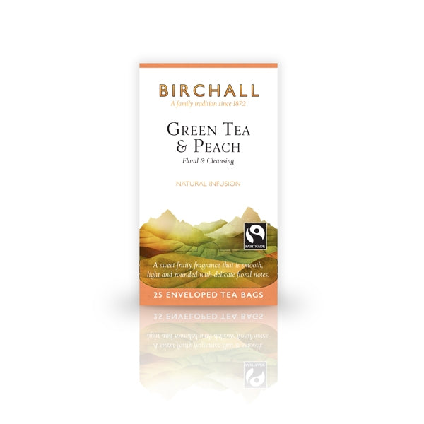 Birchall Green Tea & Peach  25 Tagged & Enveloped Tea Bags