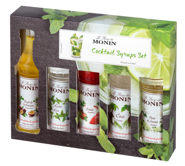 Monin Cocktail Syrup Gift Set 5 x 50ml Bottles