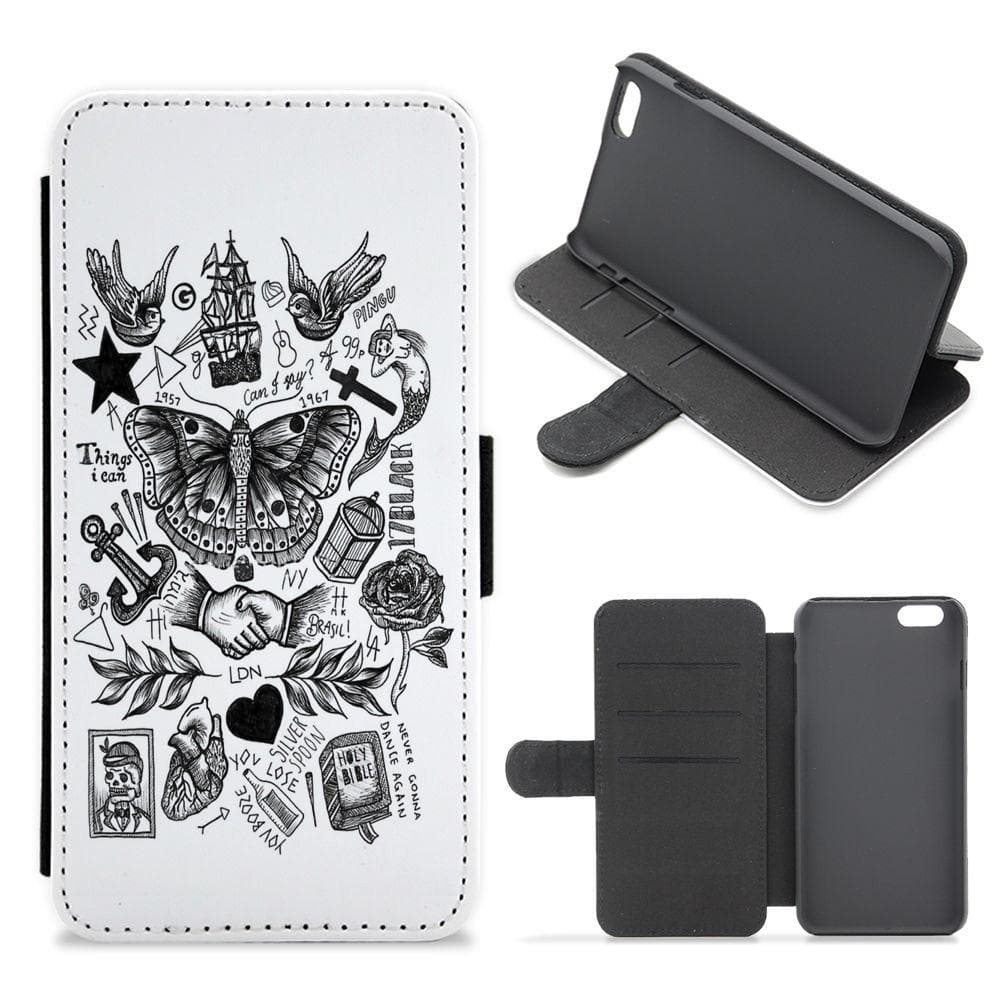 Harry Style's Tattoos Flip / Wallet Phone Case - Fun Cases
