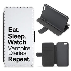 Eat Sleep Watch Vampire Diaries Repeat Flip / Wallet Phone Case - Fun Cases