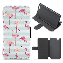 Striped Retro Flamingo Pattern Flip / Wallet Phone Case - Fun Cases
