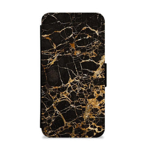 Black & Gold Marble Pattern Flip / Wallet Phone Case - Fun Cases