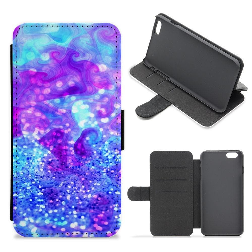 Glitter Swirl, Tumblr Stlye Flip / Wallet Phone Case - Fun Cases