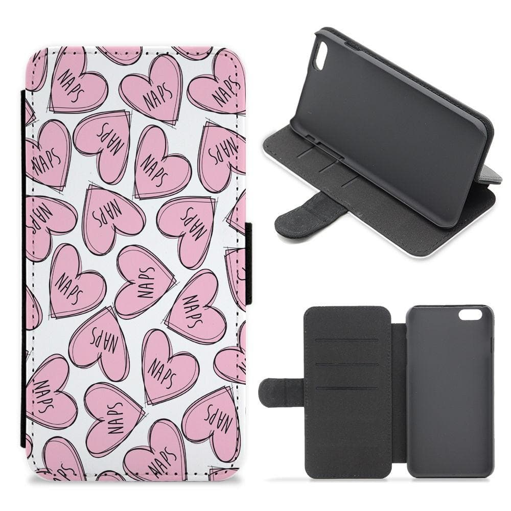 Nap Hearts, Tumblr Inspired Flip / Wallet Phone Case - Fun Cases