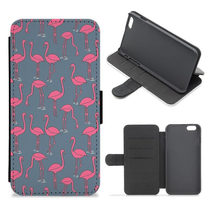 Basic Pink Flamingo Pattern Flip Wallet Phone Case - Fun Cases