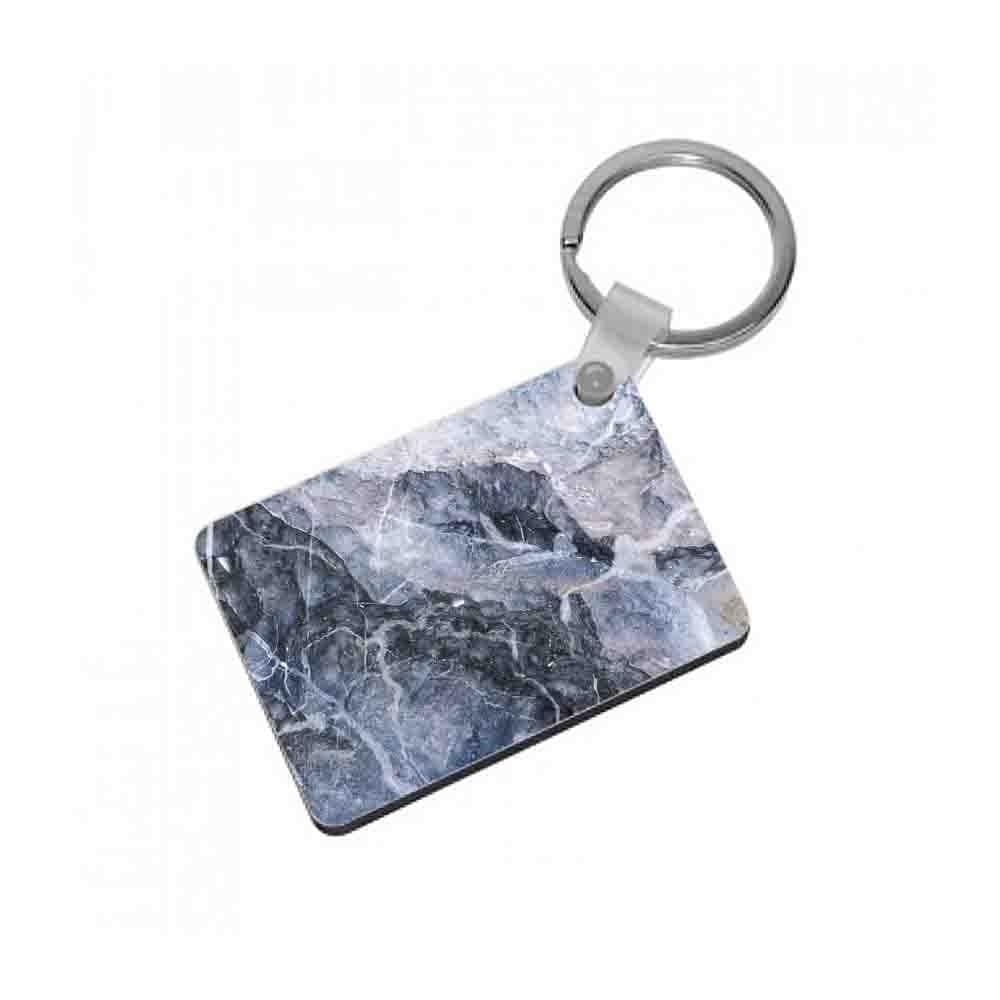 Grey and White Marble Keyring - Fun Cases