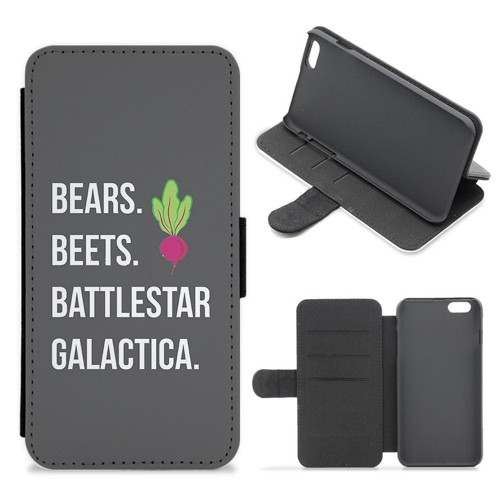 Bears. Beets. Battlestar Galactica Illustration - The Office Flip Wallet Phone Case - Fun Cases