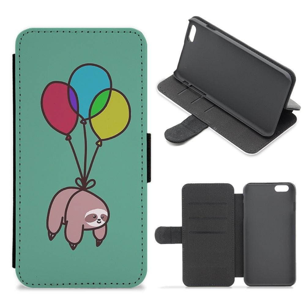 lowest price 54a63 499e1 Balloon Sloth Flip Wallet Phone Case