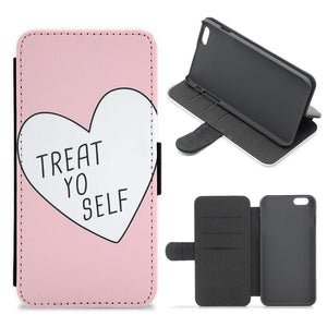 Treat Yo Self Heart - Parks and Recreation Flip Wallet Phone Case - Fun Cases