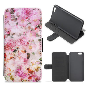 Pretty Pink Chic Floral Pattern Flip Wallet Phone Case - Fun Cases