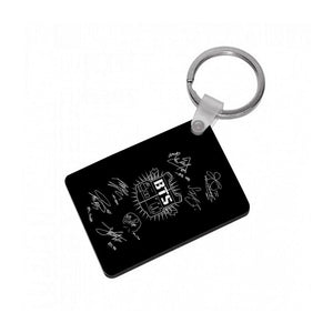 Black BTS Army Logo and Signatures Keyring - Fun Cases