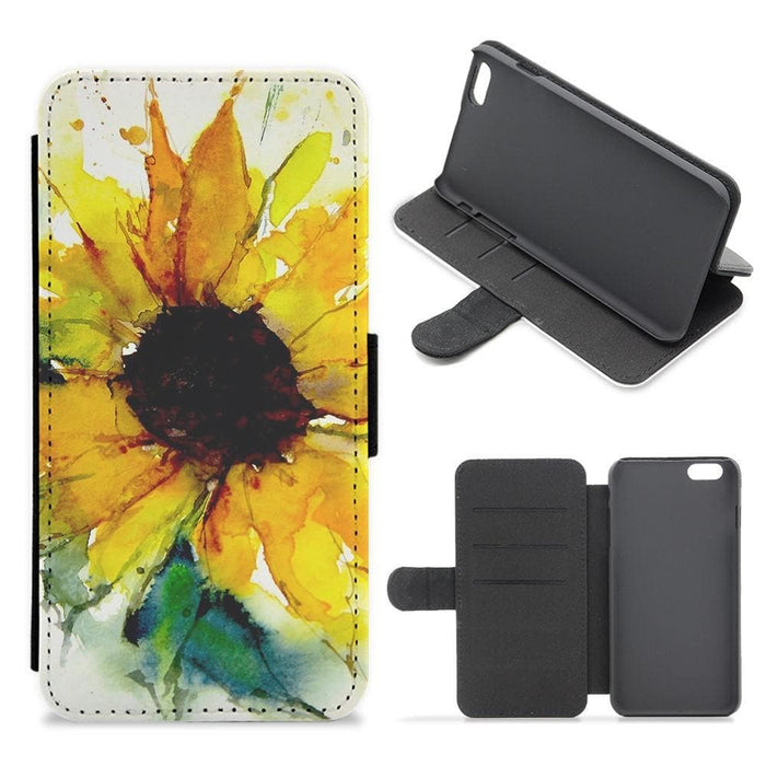 Watercolour Sunflower Flip Wallet Phone Case - Fun Cases